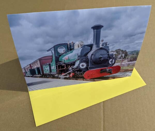 Greetings card featuring Linda on the Ffestiniog Railway