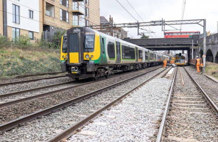 London Northwestern Railway service passing Willesden track upgrade work March 2021
