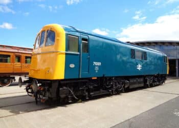 Class 71 outside of Locomotion, Shildon in County Durham