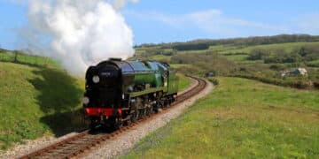 steam locomotive 34028 Eddystone on test on the Swanage Railway