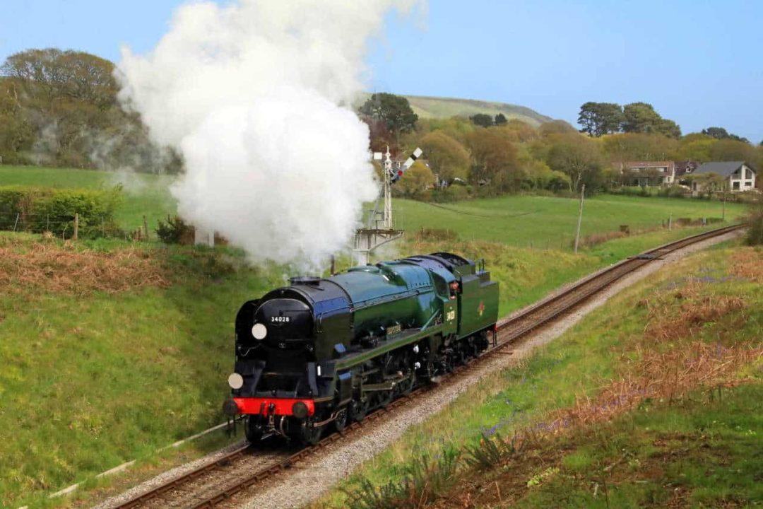 steam locomotive 34028 Eddystone on test on the Swanage Railway