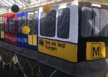 Screen shot of youtube video Knited Tyne and Wear Metro
