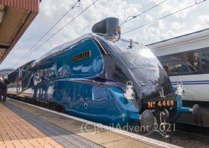 4468 Mallard stands at York railway station