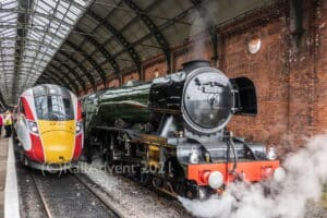 Flying Scotsman and LNER Azuma stand at Darlington station