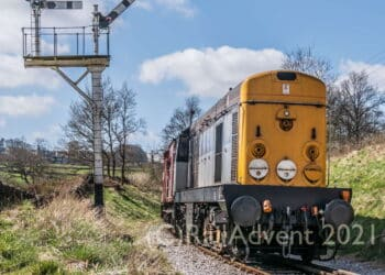 BR Class 20 20031 approaches Damems, Keighley and Worth Valley Railway