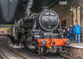 44871 stands at Pickering on the North Yorkshire Moors Railway