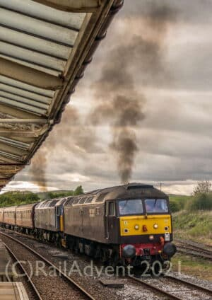 WCRC Class 47 47832 and 47813 depart Hellifield