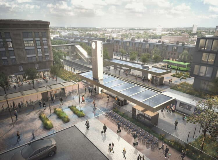 Railway Station Visualisation - Aerial ©7N Architects