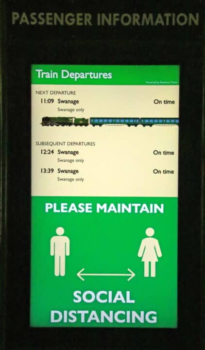 Real time train information screen Corfe Castle station
