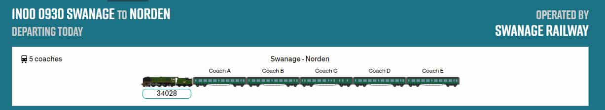 Swanage Railway on Real Time Trains