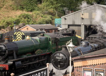 Steam locomotives in front of the loco works