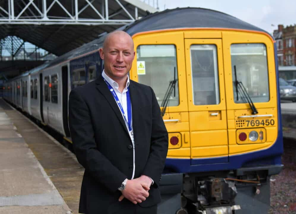 Regional Director Chris Jackson with the Class 769 FLEX at Southport