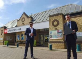 Laurence Kemball-Cook, from Pavegen, with Andrew Selous MP at Leighton Buzzard