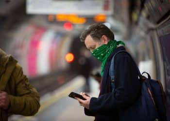 Customers wearing face masks on the London