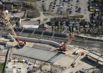Aerial shot showing precast concrete girders in place for Bletchley flyover rebuild - Credit Network Rail Air Operations
