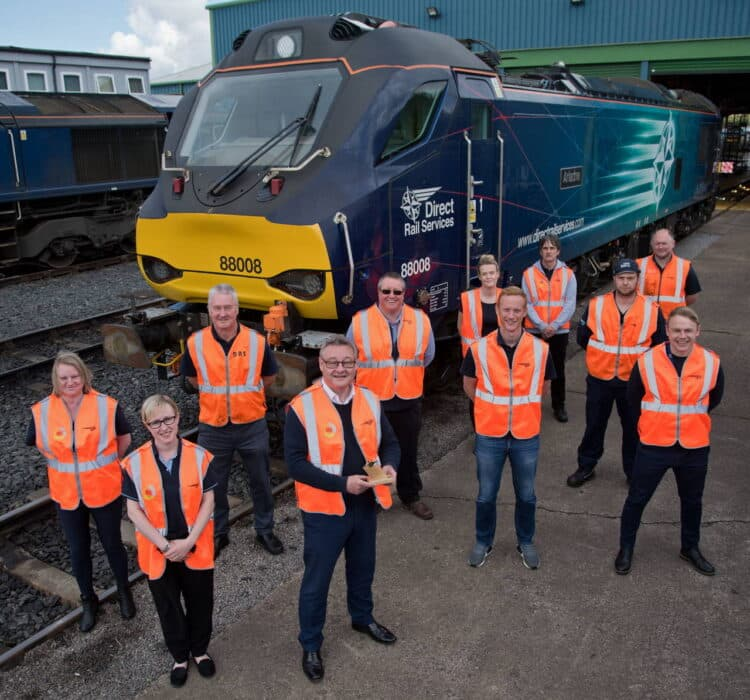 DRS Team accept IRO/Modern Railways Golden Whistle May 18 2021 - Kingmoor Depot