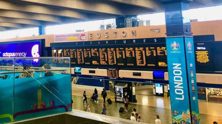 Euston station concourse 7 June 2021