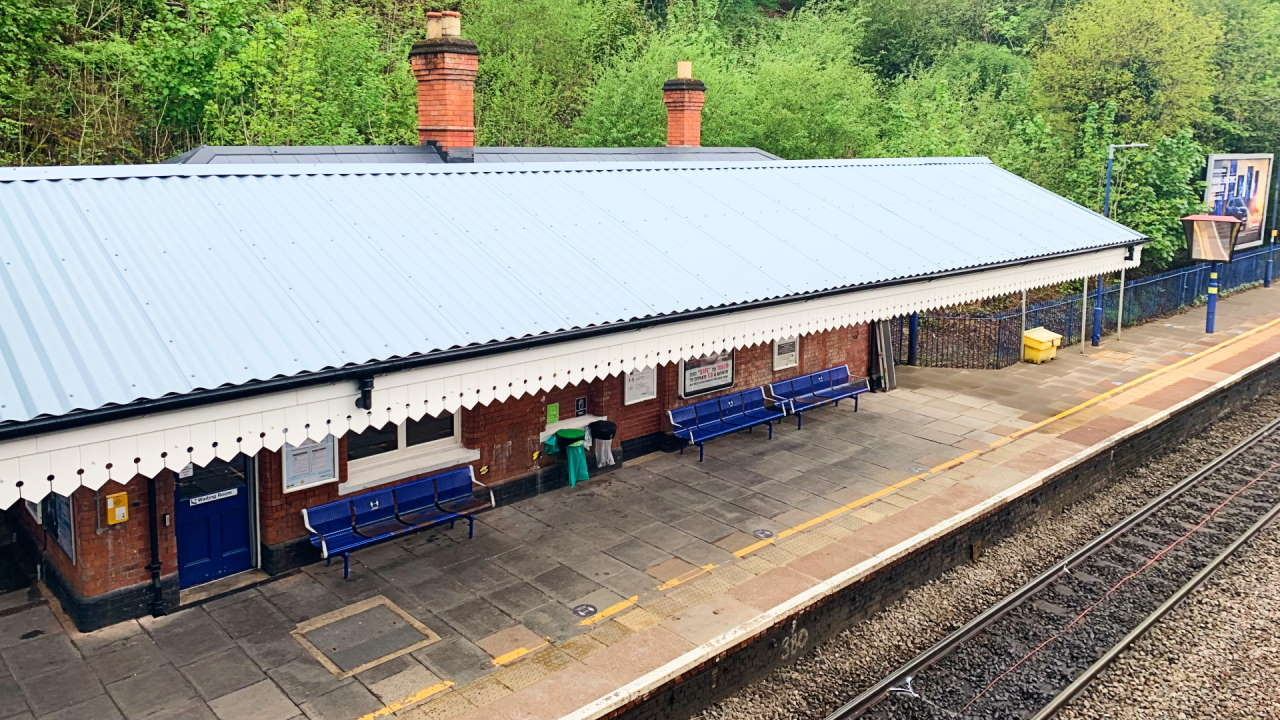 Gerrards Cross station finished canopy roof