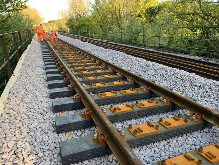 Plastic rail sleepers in use on the national network
