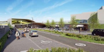 Indicative visualisation of Cambridge South station from the east