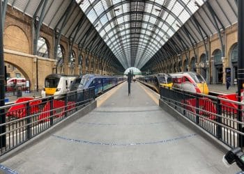 Trains on the new King's Cross platforms (l-r) Thameslink, Hull Trains, Grand Central and LNER.