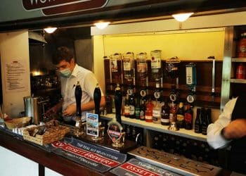 On train bar on the Keighley and Worth Valley Railway