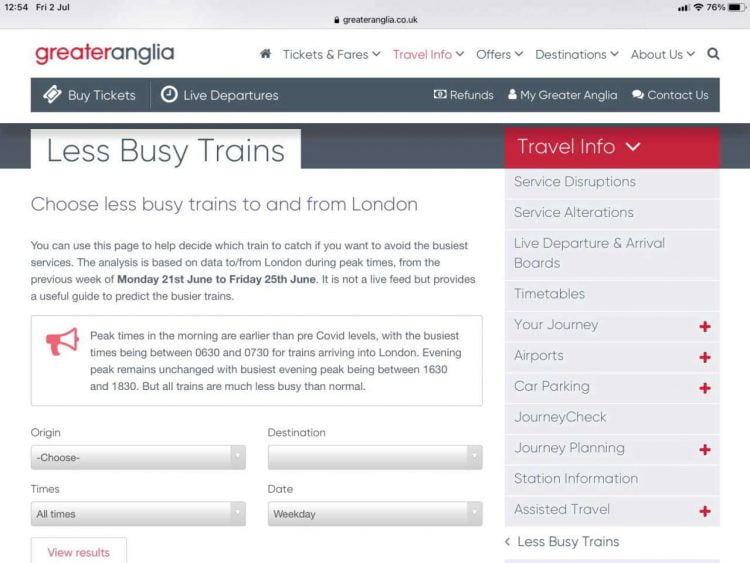 Greater Anglia, Less Busy Trains