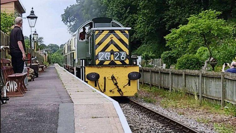 Class 14 D9526 hauls Class 33s D6566 and D6575 through Stogumber during a test run on 26th June 2021