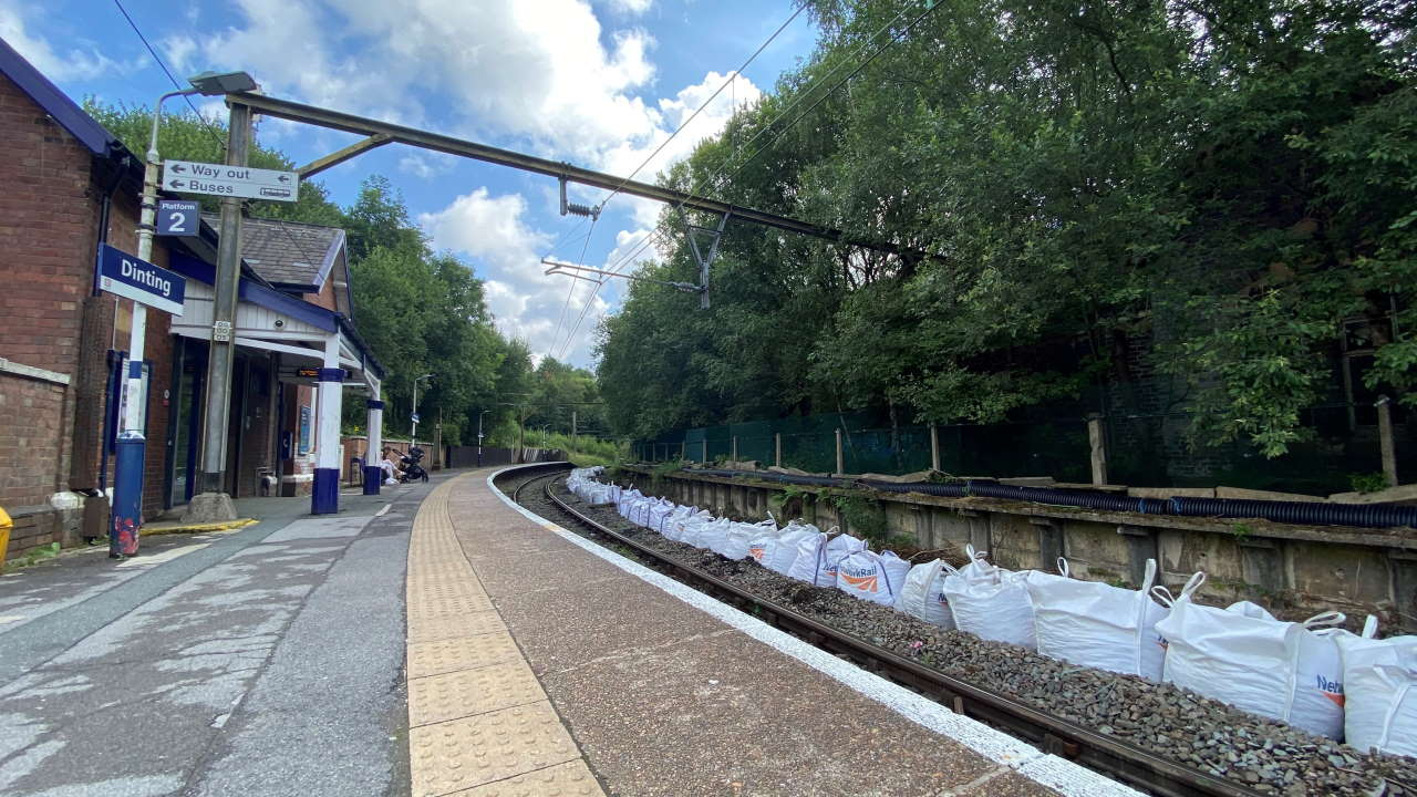 Dinting station with bags of track foundation stone in place ready for the work to begin