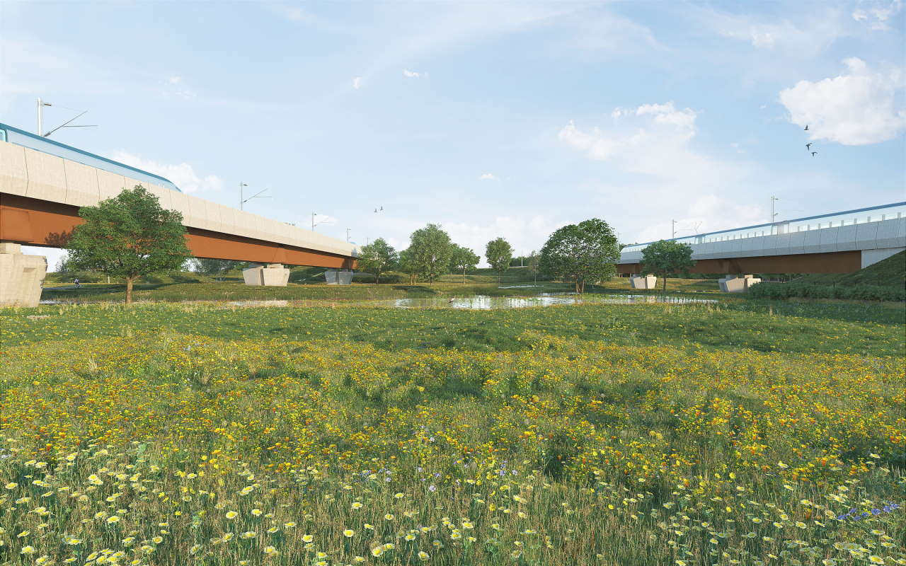 Credit HS2 // CGI visuals of River Cole viaducts