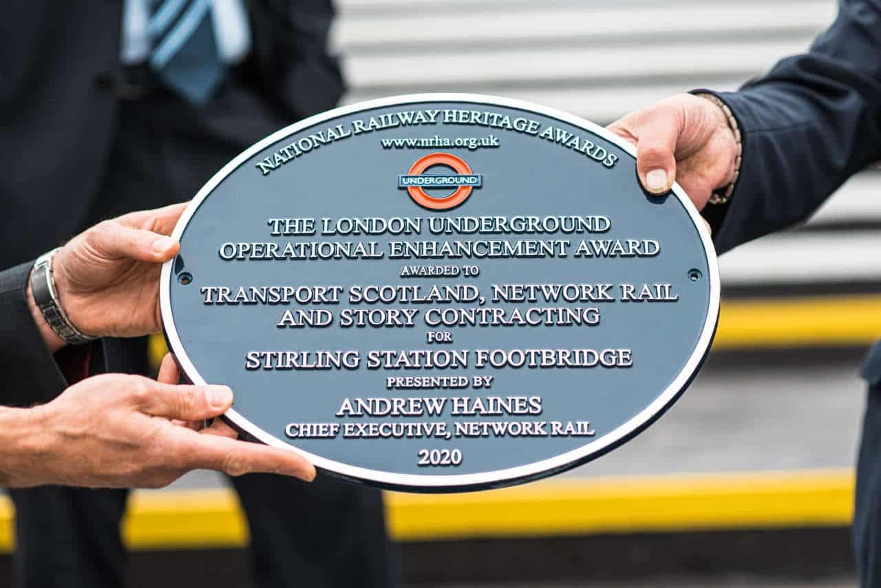National Railway Heritage award plaque for refurbishment of Stirling station footbridge