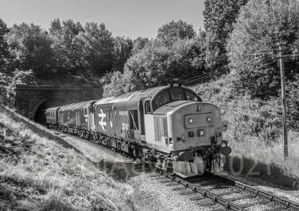 37401 and 50035 Ark Royal approach Oakworth, Keighley and Worth Valley Railway