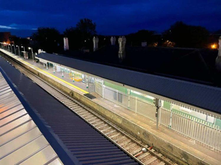 Shoreham-by-Sea station at night