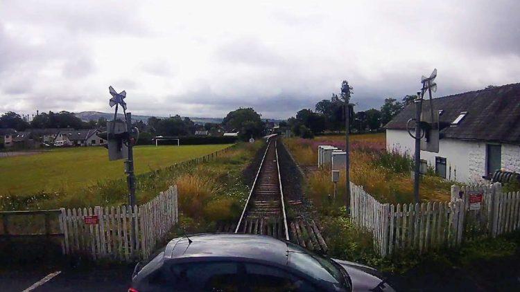 Burneside level crossing CCTV near miss still