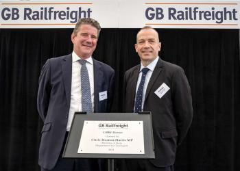 (LtR) John Smith, CEO of GB Railfreight and Chris Heaton-Harris MP, Minister of State for Transport