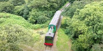 Trains back in action at the Helston Railway