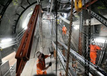 Work on a new escalator to the Central line from the new customer areas at the Bank
