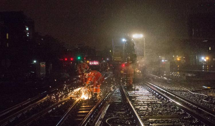 Rail upgrade work taking place through the night