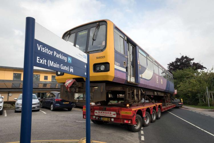 The Pacer train arrives at Airedale Hospital. Photo: Bob Smith