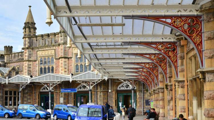 Bristol Temple Meads forecourt canopies newly painted