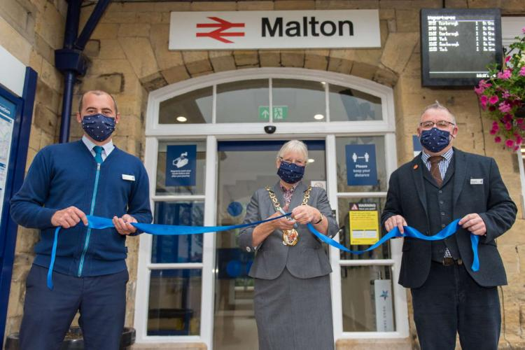Councillor Jane Frank opening the new improvements at Malton railway station