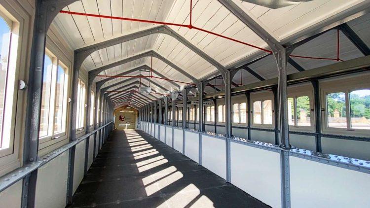 Interior of Lancaster station footbridge after refurbishment