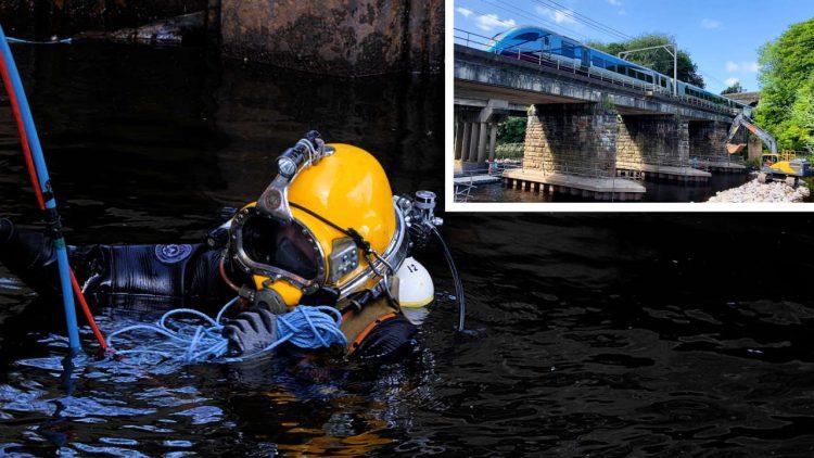 River Eden railway viaduct diver repairs