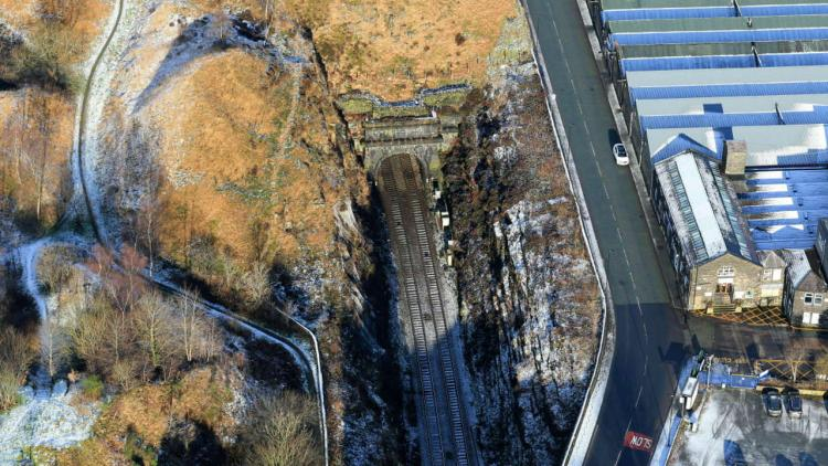 Summit Tunnel aerial image Calderbrook end winter 3