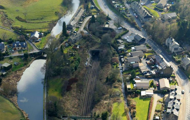 Summit Tunnel aerial image Walsden end winter