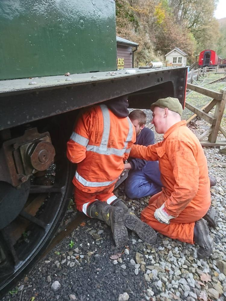 Inspecting the brake gear on Taff Vale 28