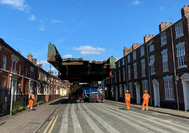 Warrington Central station bridge being removed down street