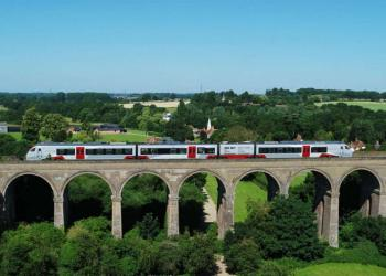A Greater Anglia train crosses Chappel viaduct