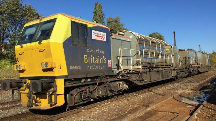 An autumn treatment train known as an MPV at Kings Norton depot