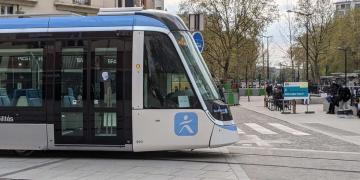 Citadis X05 Alstom tramway in commercial service in Vitry-Sur-Seine, France